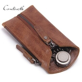 CONTACT'S Genuine Leather Key Wallet Men Keychain Zipper Keys CaseBag Car Key Holder (Brown) - intl