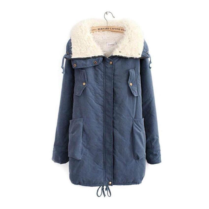 เสื้อกันหนาว ผ้า Cotton กันลมบุนวม ซิป+กระดุมหน้า คอเต่าพับโชว์เฟอร์ด้านในได้ ด้านในเสื้อบุ Fur ขนหนานุ่มทั้งตัว สีฟ้า ไซส์ 2XL