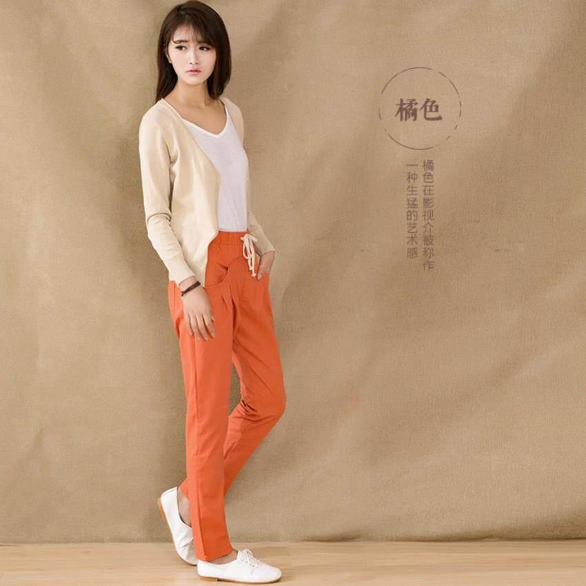 กางเกงขายาว ผ้า Cotton ลินิน เอวยางยืด กระเป๋าหน้า  ไซต์ S-XXL # 1004