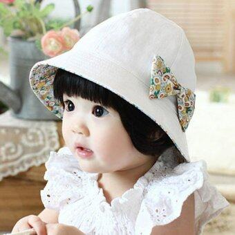 Cute Baby Girls Floral Princess Hat Summer Outdoor Sun ProtectionCap With Removable Bowknot- White - intl