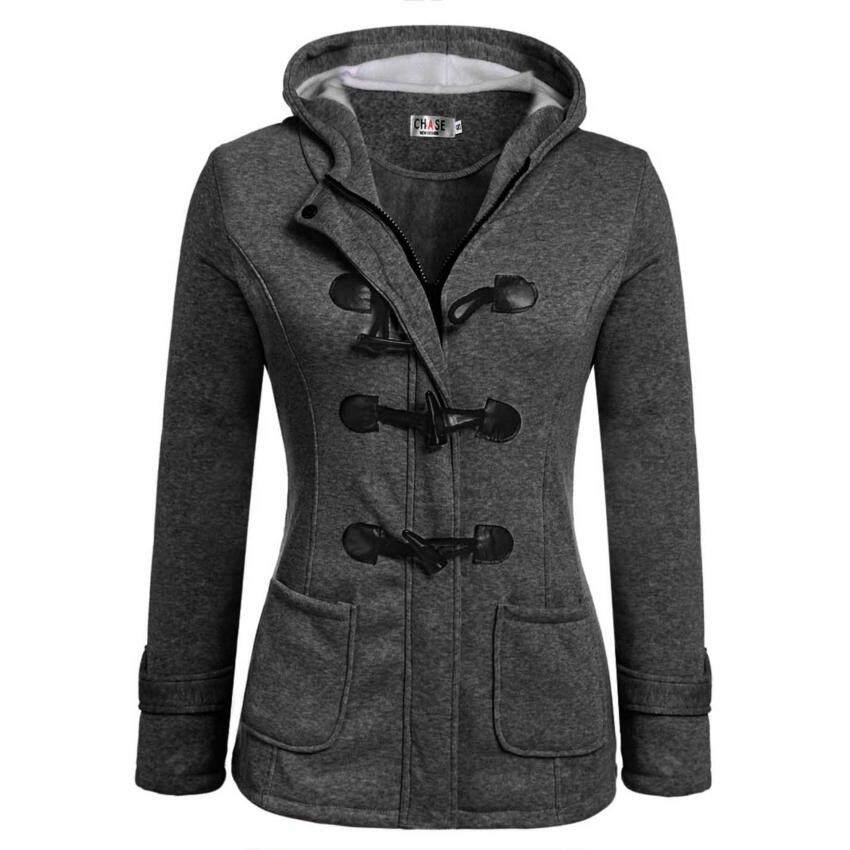 Cyber New Women Casual Slim Hooded Zipper Horn Buttons Long Overcoat Coat ( Grey ) - intl