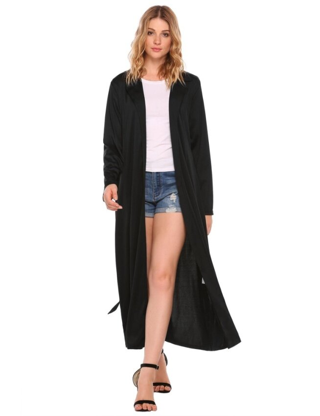 Cyber TOP SALE Women Casual Long Sleeve Solid Waterfall Belted Duster Long Cardigan Coat Jacket( Black ) - intl
