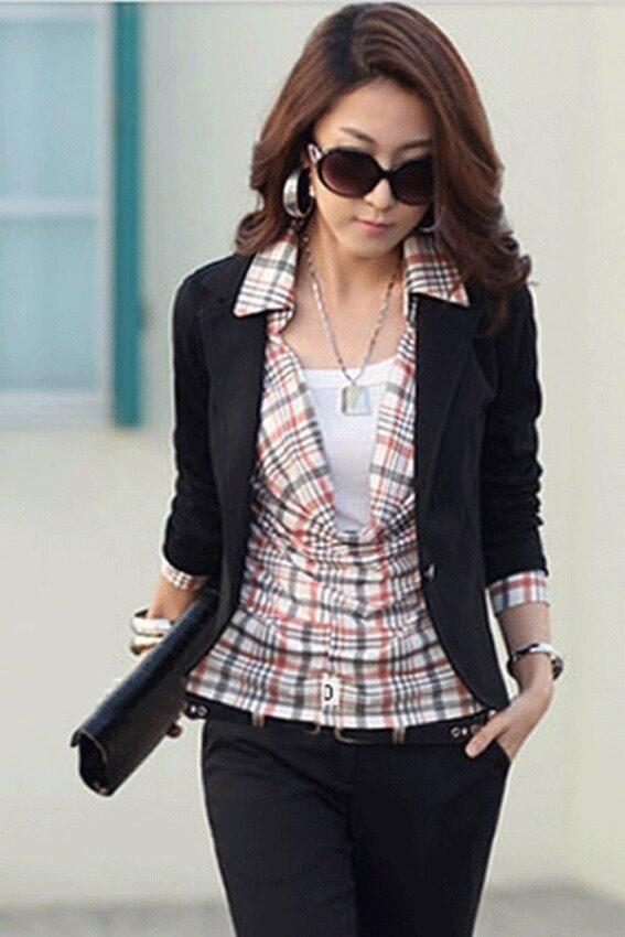 Cyber Women Slim Casual Short Blazer Suit Jacket Coat Outwear(Black)