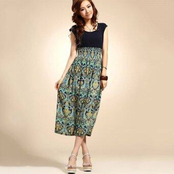 Cyber Women Vintage Sleeveless Cotton chiffon High Waist O-neckFloral Print Casual Dress Party Dresses ( Blue )