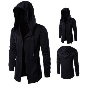 Dark Men Windbreaker Long Style Cloak Hooded Jacket Coat(Black) -intl
