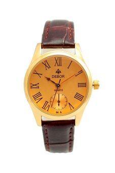ประเทศไทย Debor นาฬิกาข้อมือ สีน้ำตาล สายหนังหน้าปัดทองเลขโรมัน