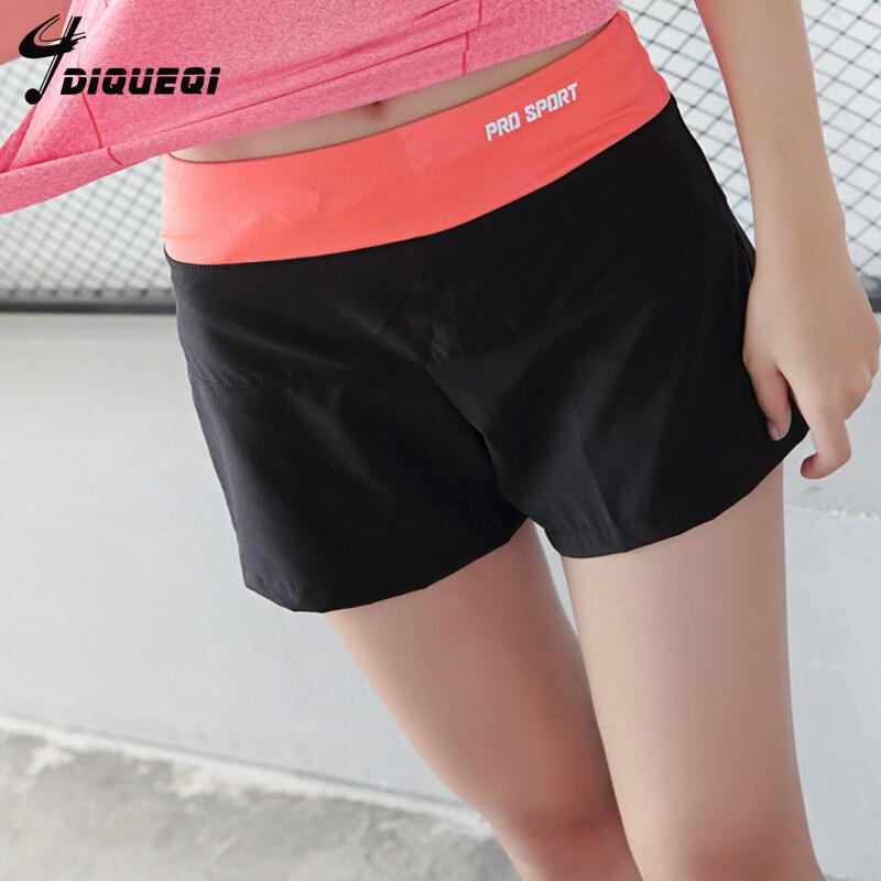 Dequeqi เรียงรายหญิงต่อต้านวิ่งออกกำลังกายกางเกงกีฬากางเกงขาสั้น (กับกางเกงขายาวสีดำสีส้มเอว)