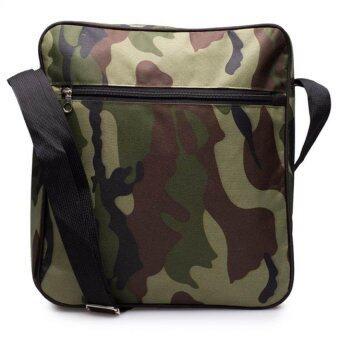 DM กระเป๋าสะพายข้างลายทหาร--สีเขียว
