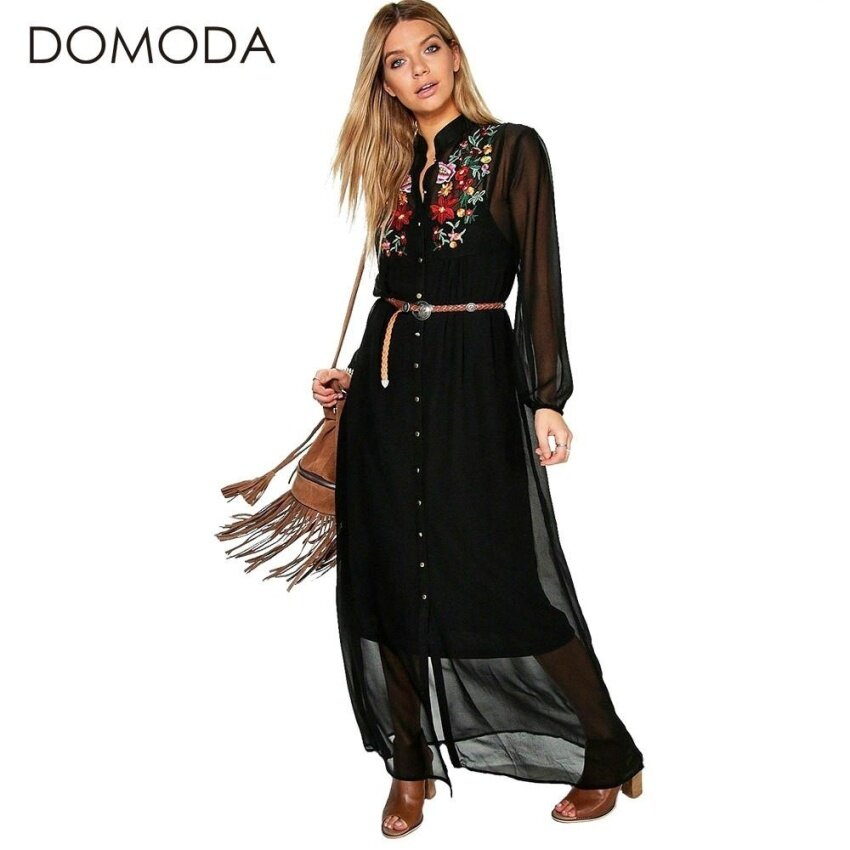Dress Women Clothing Floral Print Embroidery Boho Dresses Loose Casual Elegant Maxi Dress Vestidos Female - intl