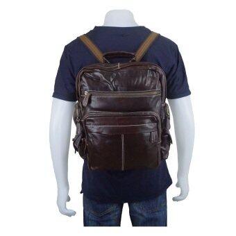 """EAY กระเป๋าสะพายหลัง เป้ หนังแท้ bag0149br (สีน้ำตาลเข้ม)"""""""