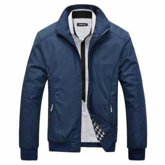 Encontrar New Men Solid Business Classic Bomber Jackets M-5XL (NavyBlue) - intl