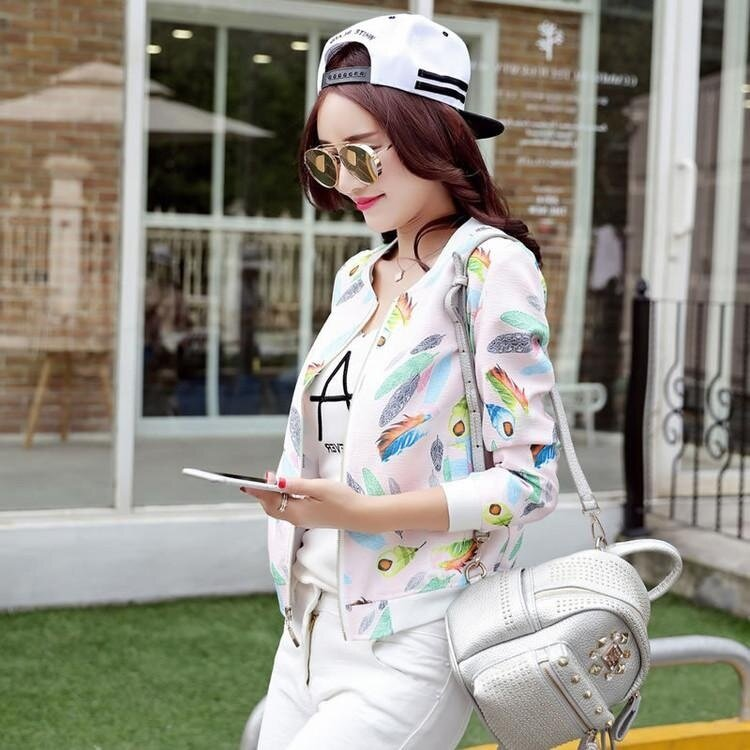 EP Women Fashion Casual Sport Solid Stand Collar Zipper Patchwork Coat Lightweight Baseball Jacket-Pink Feather - intl
