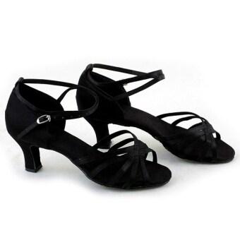 ETOP เต้นรำบอลรูมแบบละตินบริ ลันหญิงรองเท้ารองเท้าละติน 3 สี (สีดำ)