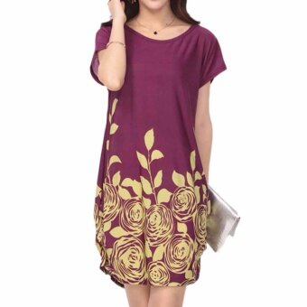 Fancyqube Large Size Summer Dress Printed Dress Short SleevesStraight Dresses Women Clothing Burgandy - intl