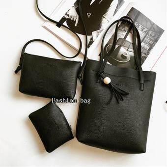 Fashion Bag กระเป๋าเป้ กระเป๋าสะพายข้างสีดำ กระเป๋าเซต 3 ใบ No.0122- Black