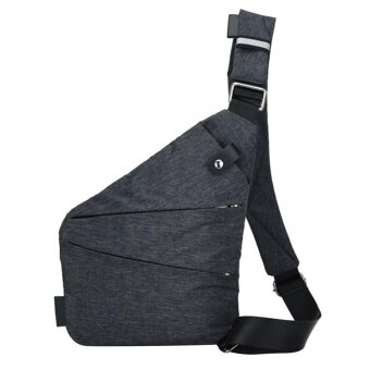 Harga Fashion Men Canvas Chest Bag Simple Messenger Bag Crossbody Bags (Black) - intl