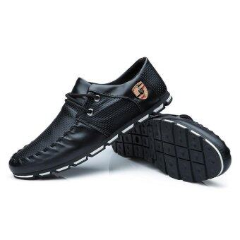 Fashion Men Casual Shoes Formal Business Leather Shoes (Black) - intl