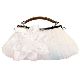 Fashion Women Moonflower Handbag Prom Party Bag Wedding Satin Clutch White (Intl)