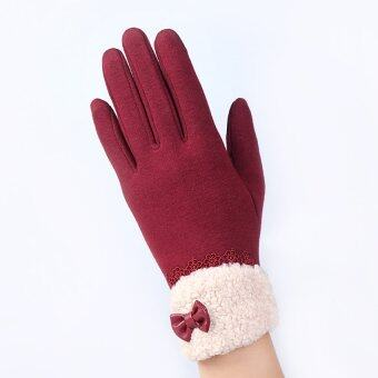 Harga Fashion Women Outdoor Winter Warm Click Touch Screen Gloves (Red) -intl