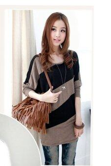 Fashionstory เสื้อยืดตัวหลวมแขนยาวแขนค้างคาว (สีน้ำตาล/ดำ) (image 2)