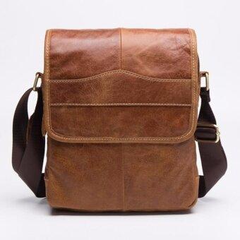 กระเป๋าหนัง for You กระเป๋าหนังแท้ กระเป๋าผู้ชาย กระเป๋าสะพายข้าง FY011(น้ำตาลอ่อน)