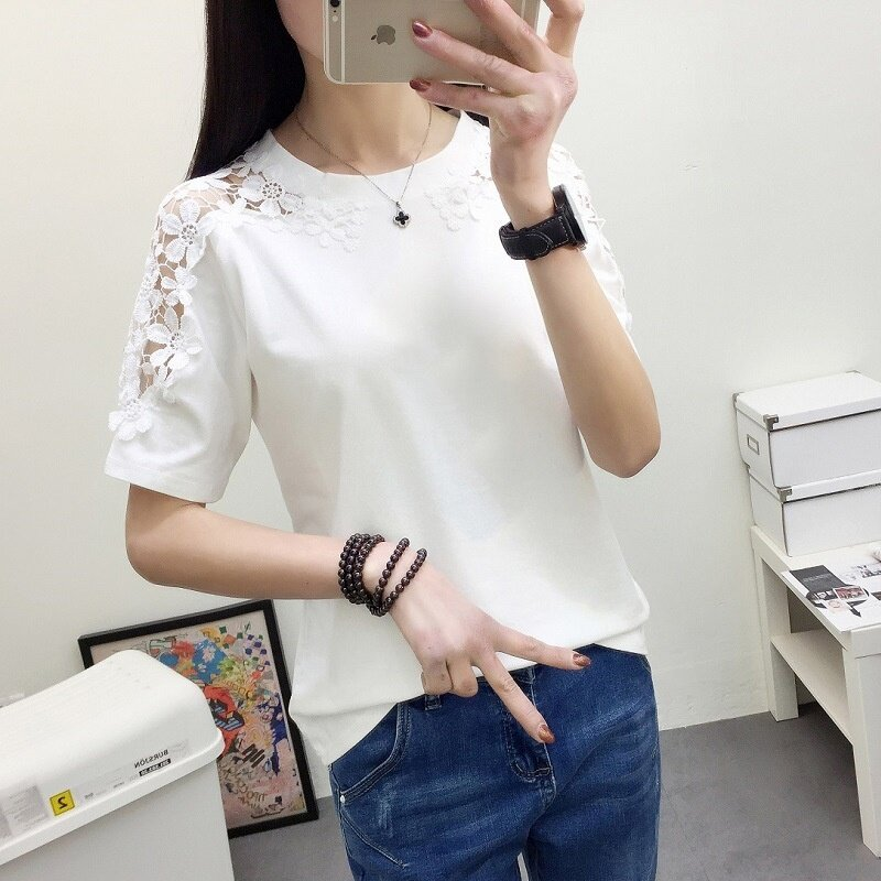 FP thin all-match simple lace half sleeve blouse. - intl