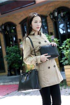 FTshop เซ็ต 3 ใบ กระเป๋าสะพายข้าง กระเป๋าสตางค์ผู้หญิงกระเป๋าแฟชั่น กระเป๋าถือผู้หญิงรุ่น40c(สีดำ) - 3