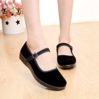 Harga George Store Hot Sell New Women Lady Chinese Mary Jane BallerinaWork Velvet Shoes Cotton Sole Flats BLACK - intl