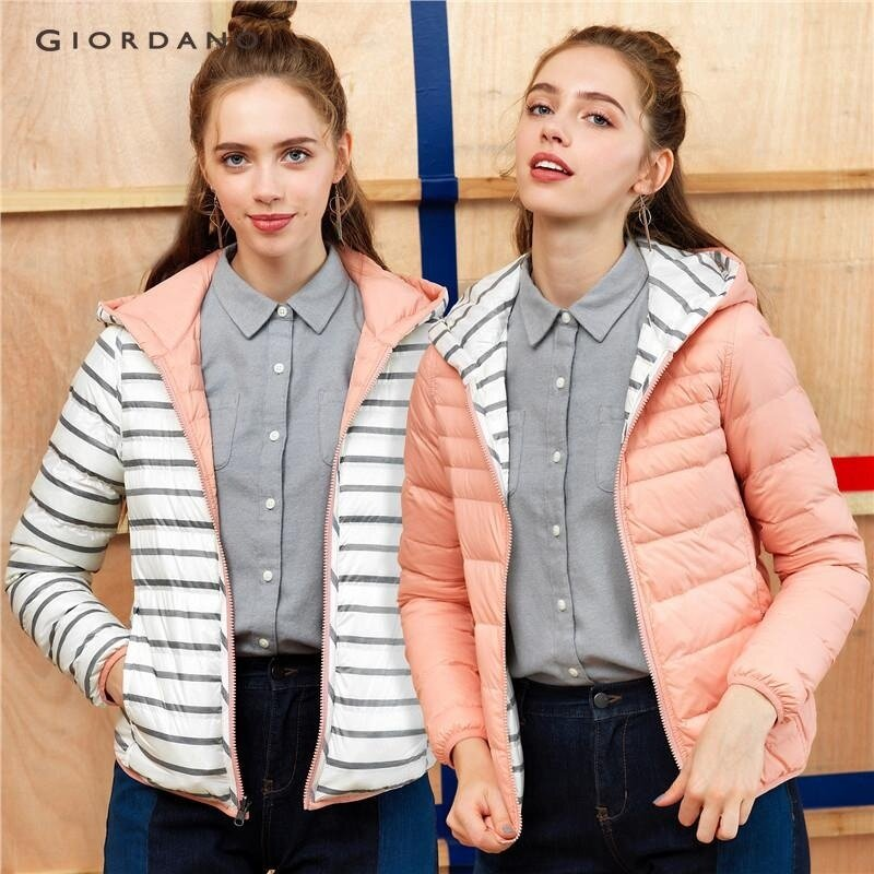 Giordano Women Reversible hooded down jacket 05377616 Pink/White/Grey