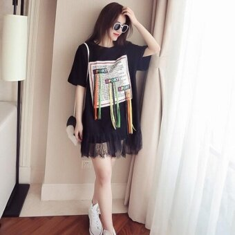 Harga Girlhood Korea Korean fashion Big size dress Black - intl