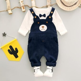 Girls Clothing Set Overalls 2017 Autumn New Style Toddler Baby Boy\nClothing Cotton O-Neck Full Sleeve Girls Clothes - intl