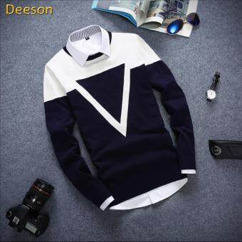 Harga Good Quality Winter Autumn O-neck Long Sleeve Triangle MenSweater(Navy Blue) - intl