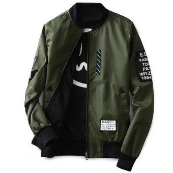 Grandwish Men Double-sided wear Jacket Bomber Jackets Letter printCoat M-5XL (Army green) - intl