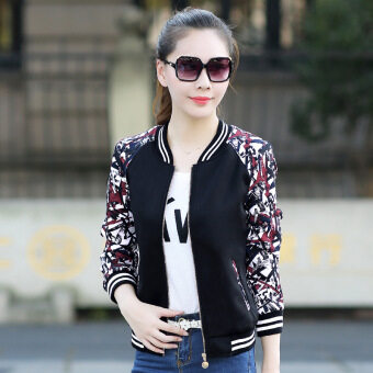Grandwish Women Floral Print Jackets Baseball uniform Coat Plus Size S-3XL (Black) - intl