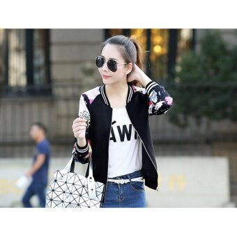 Grandwish Women Floral Print Jackets Baseball uniform Coat PlusSize S-3XL (Black block) - intl