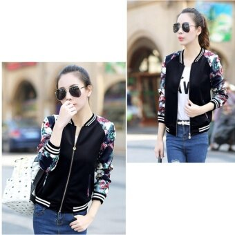Grandwish Women Floral Print Jackets Baseball uniform Coat PlusSize S-3XL (Black flower) - intl