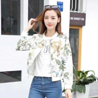 Grandwish Women Floral Print Jackets Baseball uniform Coat SlimS-2XL (1) - intl
