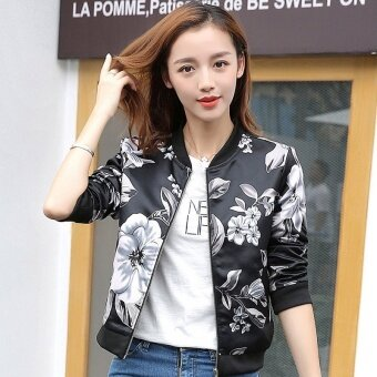 Grandwish Women Floral Print Jackets Baseball uniform Coat SlimS-2XL (5) - intl