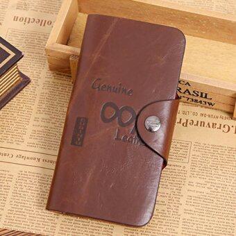 GUBINTU กระเป๋าใส่บัตร-ใส่เงินใบยาวหนัง รุ่น GBT002 (สีน้ำตาลลายอักษร)