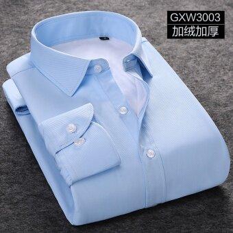 บวกกำมะหยี่สีทึบชายแขนยาวเสื้อเชิ้ตเสื้อเชิ้ตสีขาว (GXW3003 สีฟ้าทอลายทแยง)