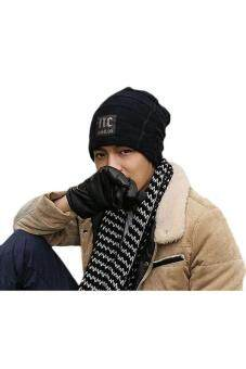 Hang-Qiao Fashion Men Knitted Beanie Hat Skull Cap Black