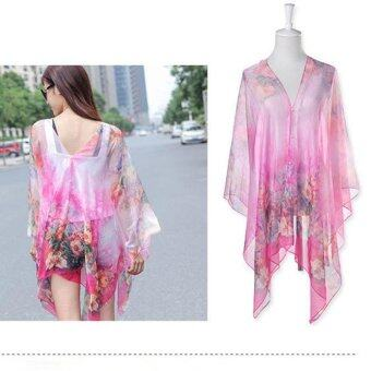 Hang-Qiao Floral Print Chiffon Shawls Scarf Pearl Button SunscreenClothing Scarf (Pink) - intl