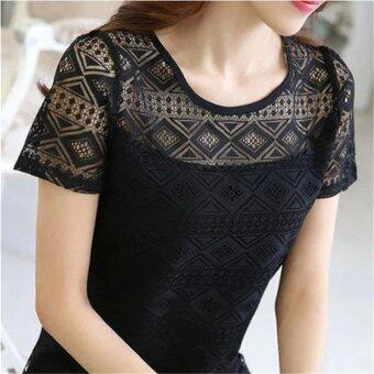 Hang-Qiao Lace Hollow Chiffon Shirt Blouse Short Sleeve Tops Blouse(Black) - intl
