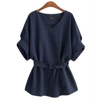 Hang-Qiao Vintage Bat Sleeve Women Blouses Loose Shirt Tops (NavyBlue) - intl