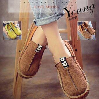 Hang-Qiao Women Loafers Shoes Round Toe Casual Lady Flats WideShallow Slip-on Shoes (Coffee) - intl