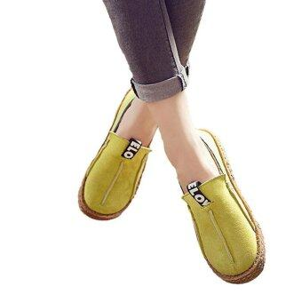 Hang-Qiao Women Loafers Shoes Round Toe Casual Lady Flats WideShallow Slip-on Shoes (Yellow) - intl