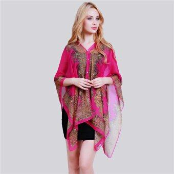 HangQiao Bohemia Shawl National Style Cashew Paisley Printing BeachScarf (Rose Red) - Intl