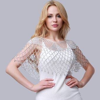 Harga Hanyu 2# Women Thin Ice Silk Sun Protection Clothing Blouse LaceOpenwork Crochet Small Shawl Cloaks White