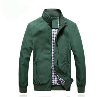Hanyu New Autumn Men's Stand Collar Solid Coat Casual Slim Outwear Coat Jacket Green - intl