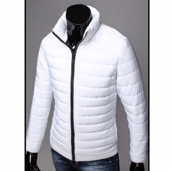 Hanyu New Fashion Coat Winter Men's Cotton Collar Casual Jacket Thicker Warm Cotton Jacket(White) - intl